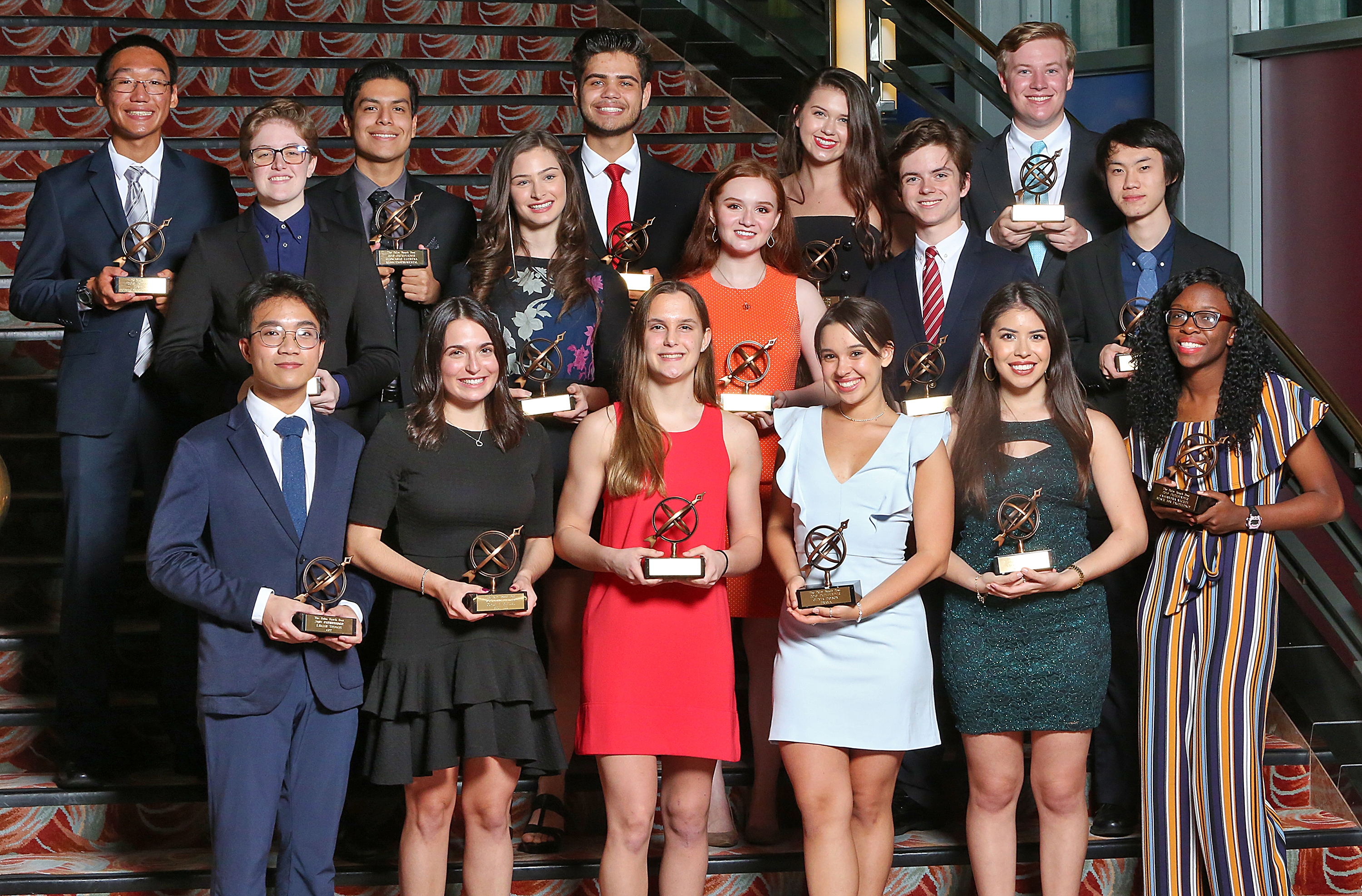 The winner of the 2018 Pathfinder High School Scholarship Awards pose for a photo at the Kravis Center for the Performing Arts in West Palm Beach. (Tim Stepien/The Palm Beach Post)